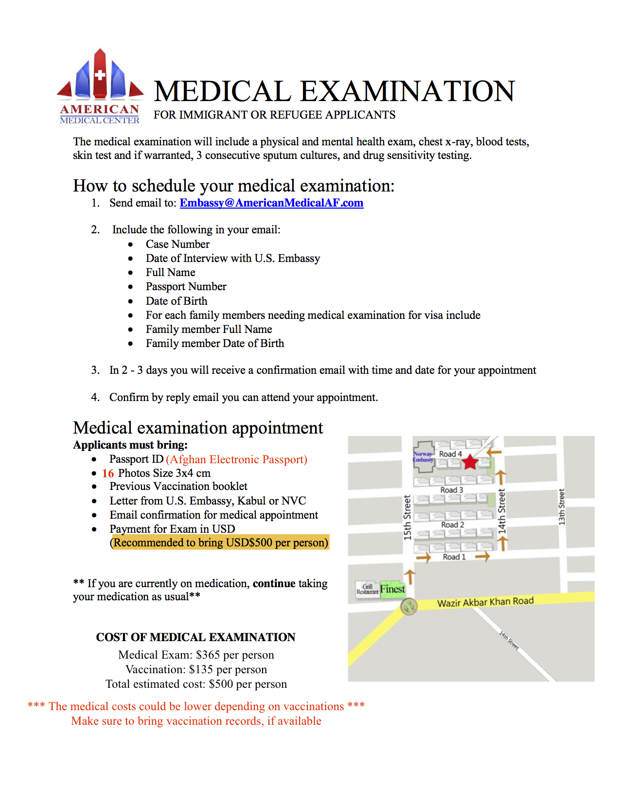 Medical Exam Appointment Instruction